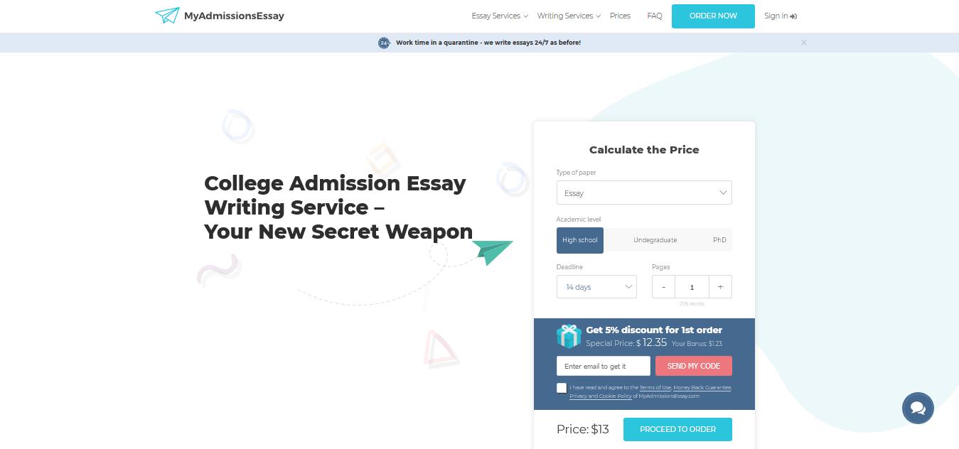 MyAdmissionsEssays website