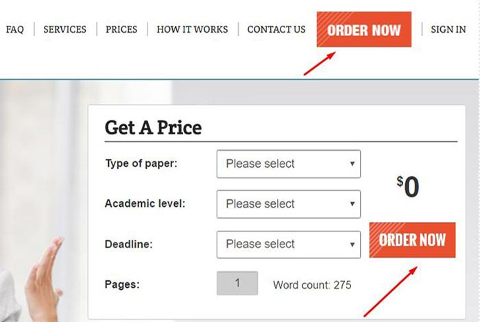 click the order button