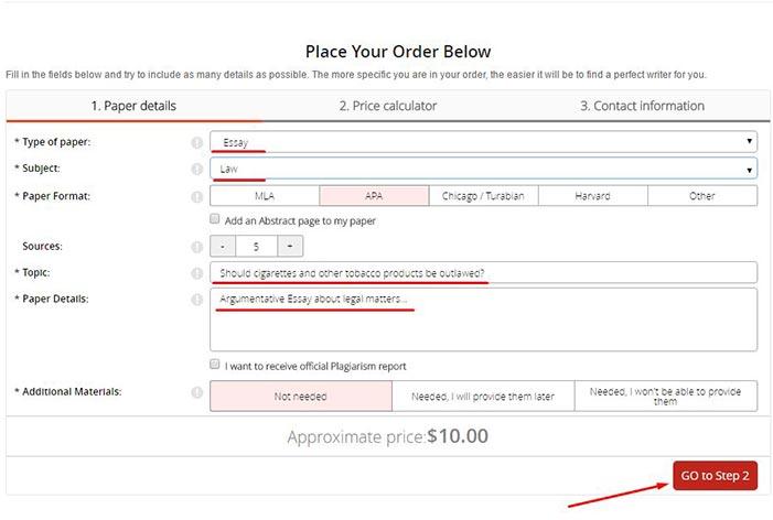 specify order details