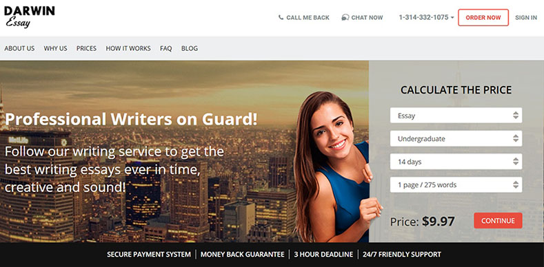 DarwinessayNet Website image